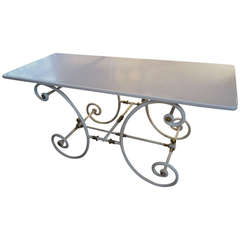 French Iron, Brass and Milk Glass Bakers Table