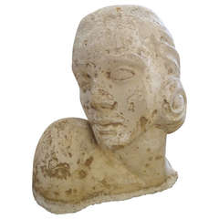 Romantic Plaster Sculpture of Woman's Head