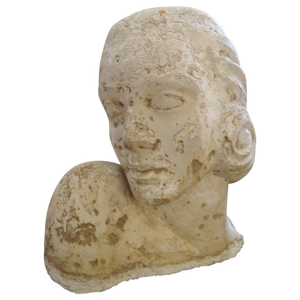 Romantic Plaster Sculpture of Woman's Head