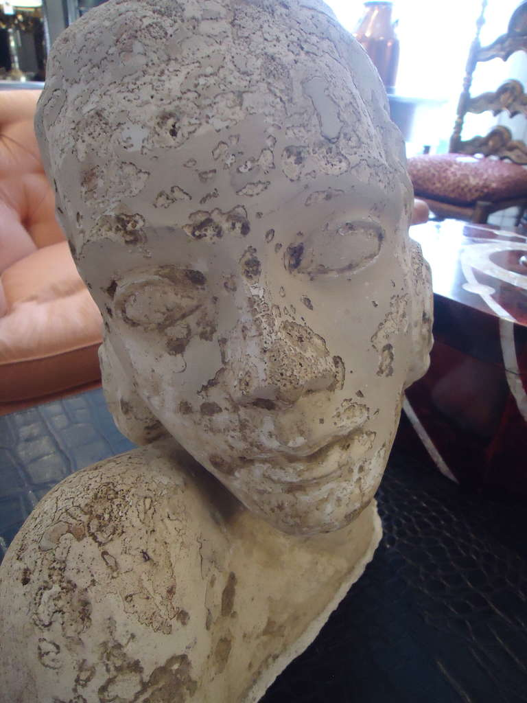 Unknown Romantic Plaster Sculpture of Woman's Head For Sale