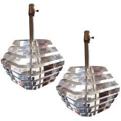 Pair of Designer Lucite Lamps