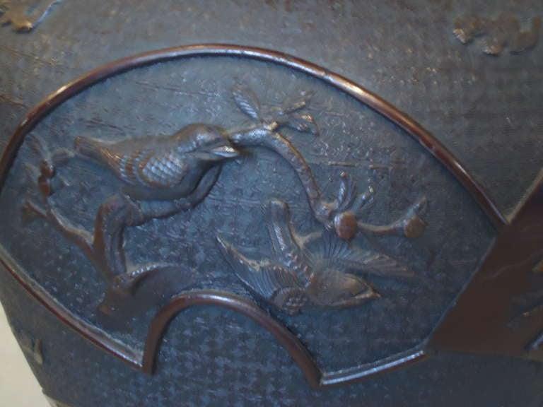 Meiji Period Large Bronze Vase or Urn 3