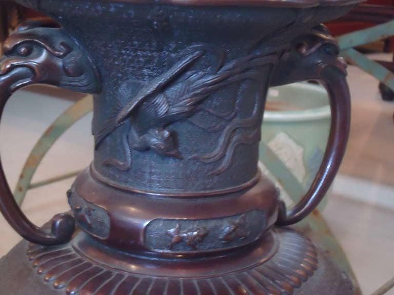 Meiji Period Large Bronze Vase or Urn 5