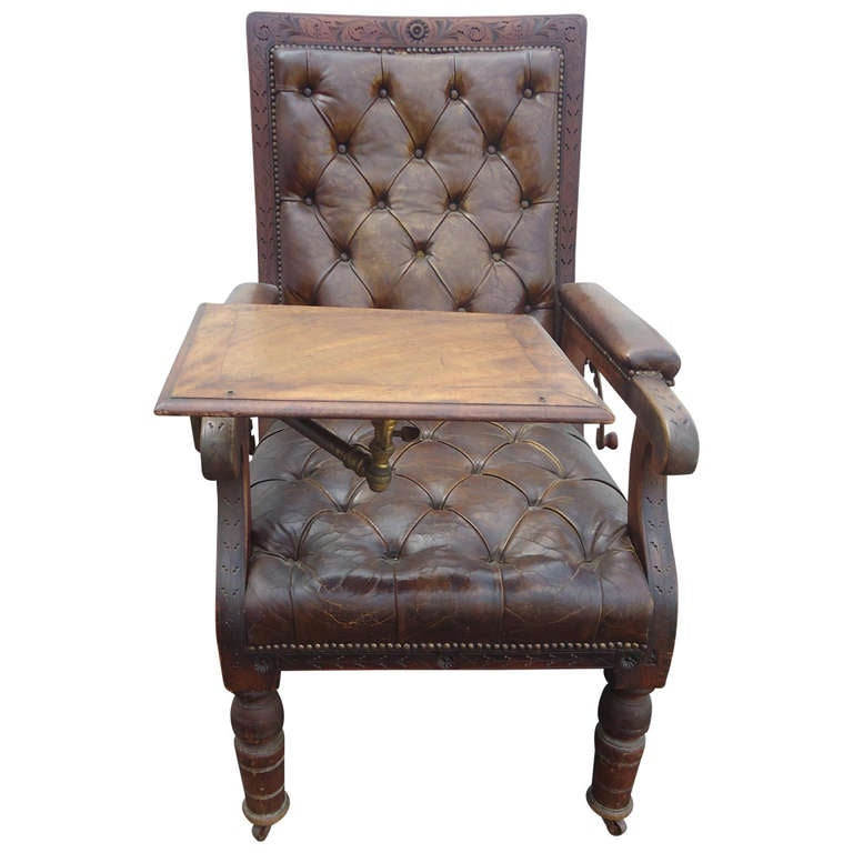 Distressed Irish Mechanical Leather and Carved Wood