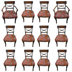 Set of 12 Regency Dining Chairs with Greek Key Design