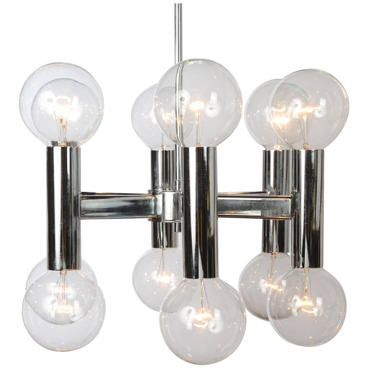 chrome and glass mid century modern chandelier at 1stdibs. Black Bedroom Furniture Sets. Home Design Ideas