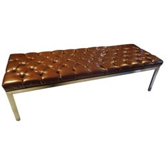 Large Chocolately Mid-Century Modern Button Tufted Bench