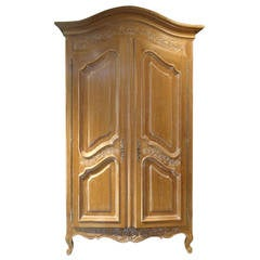Antique Pickled Carved Wood Italian Armoire
