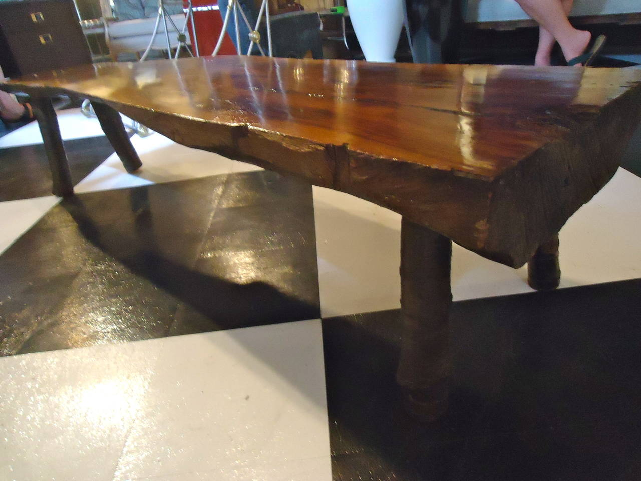 Nakashima style black walnut bench coffee table at 1stdibs nakashima style black walnut bench coffee table 2 geotapseo Gallery