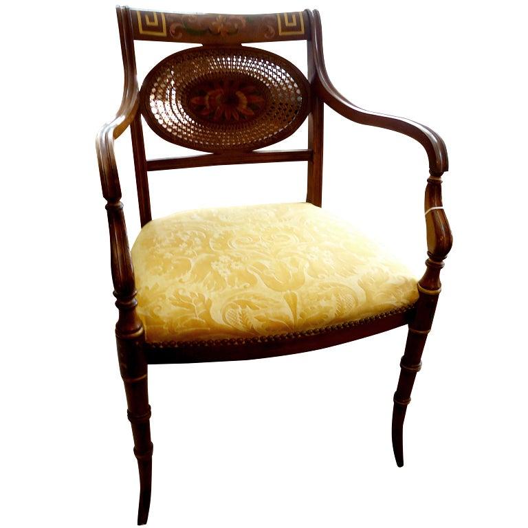 Gorgeous Italian Handpainted Regency Chair At 1stdibs