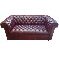 Cordovan Leather Small Chesterfield Sofa