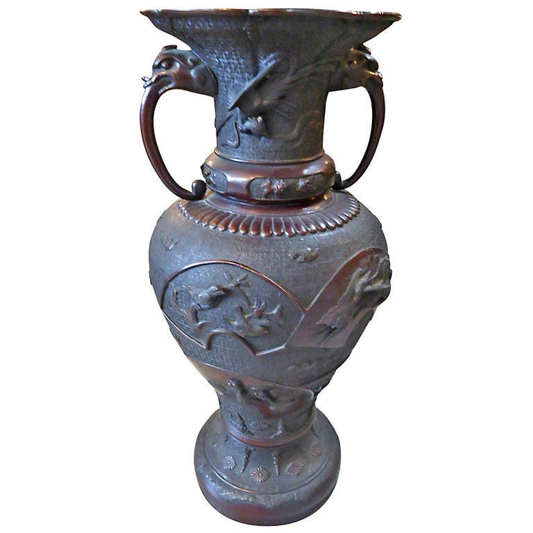 Meiji Period Large Bronze Vase or Urn 1