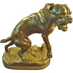 Bronze Bull Dog Sculpture by Charles Valton
