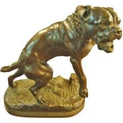 Bronze Bull Dog Sculpture by Charles Valton