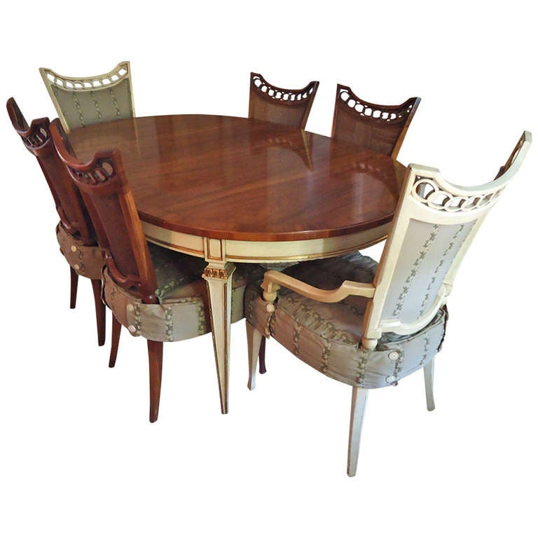 Painted Dining Room Sets: Delightful Oval Mahogany And Painted Dining Table And 6