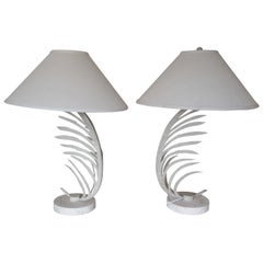 Pair of Iron Palm Leaf Table Lamps