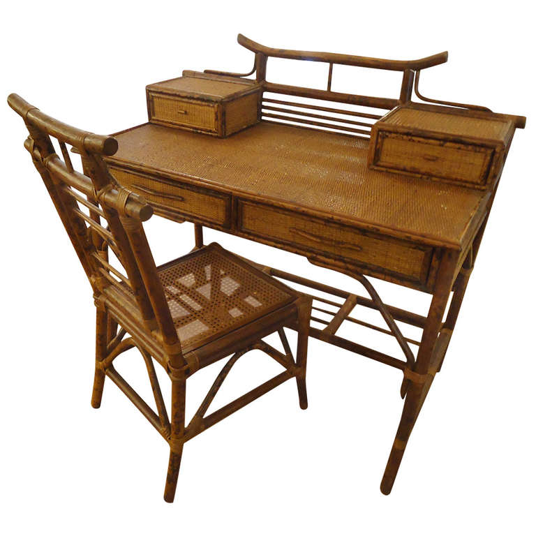 Faux Bamboo And Rattan Writing Desk Chair For