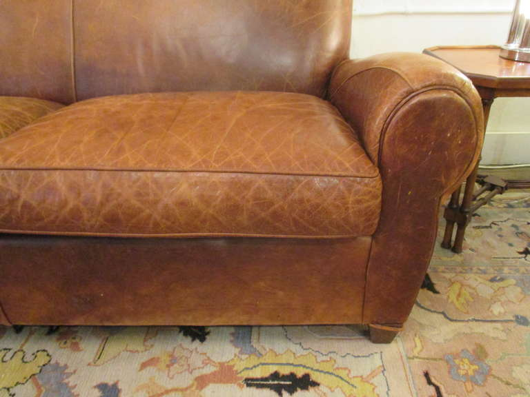 pics of distressed leather sofa | Handsome Distressed Leather Sofa at 1stdibs