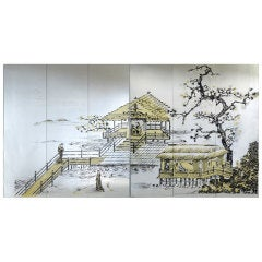 6 Vintage Chinoiserie Mirrored Panels