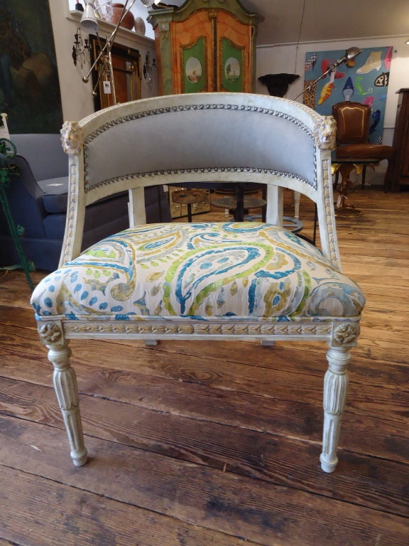 Beautiful Swedish style armchairs that have been redone with grey pony hair back, contemporary paisley and nailheads; Seat depth is 20.5  Seat height 17.5