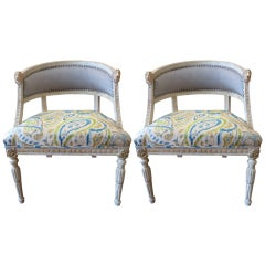 Pair of Swedish Bergeres with Pony hair and Fabric Upholstery