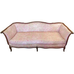 Vintage French Sofa with Designer Print Upholstery