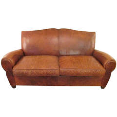 Handsome Distressed Leather Sofa