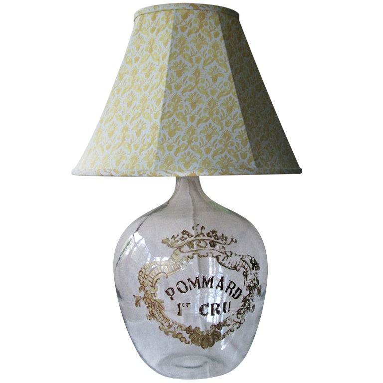 Antique wine bottle lamp with fortuny shade at 1stdibs for Wine cork lampshade