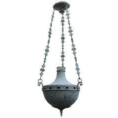Large Antique Bronze Neoclassical Hanging Lantern