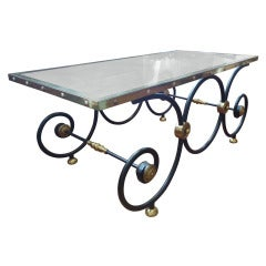 French Black and Gold Baker Style Coffee Table