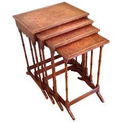 Faux Bamboo and Burl Wood Quartetto Nesting Tables