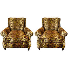 Pair of Luscious Leopard Upholstered Custom Club Chairs