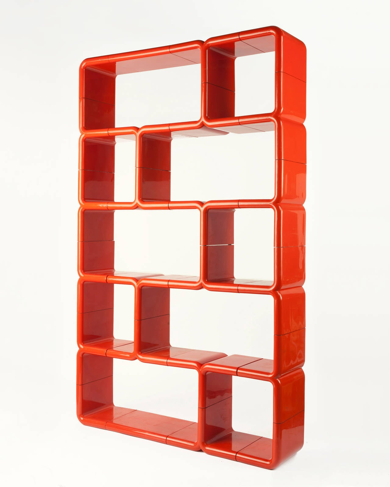 orange red modular plastic umbo bookshelf at 1stdibs. Black Bedroom Furniture Sets. Home Design Ideas