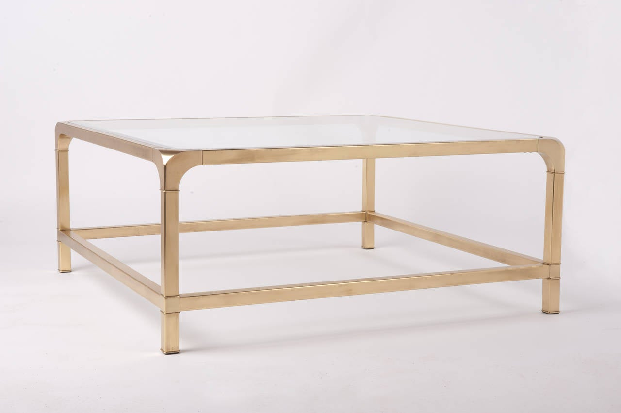 mastercraft brass and glass square cocktail coffee table at stdibs - mastercraft brass and glass square cocktail coffee table
