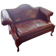 Rich Maroon Leather Camelback Loveseat