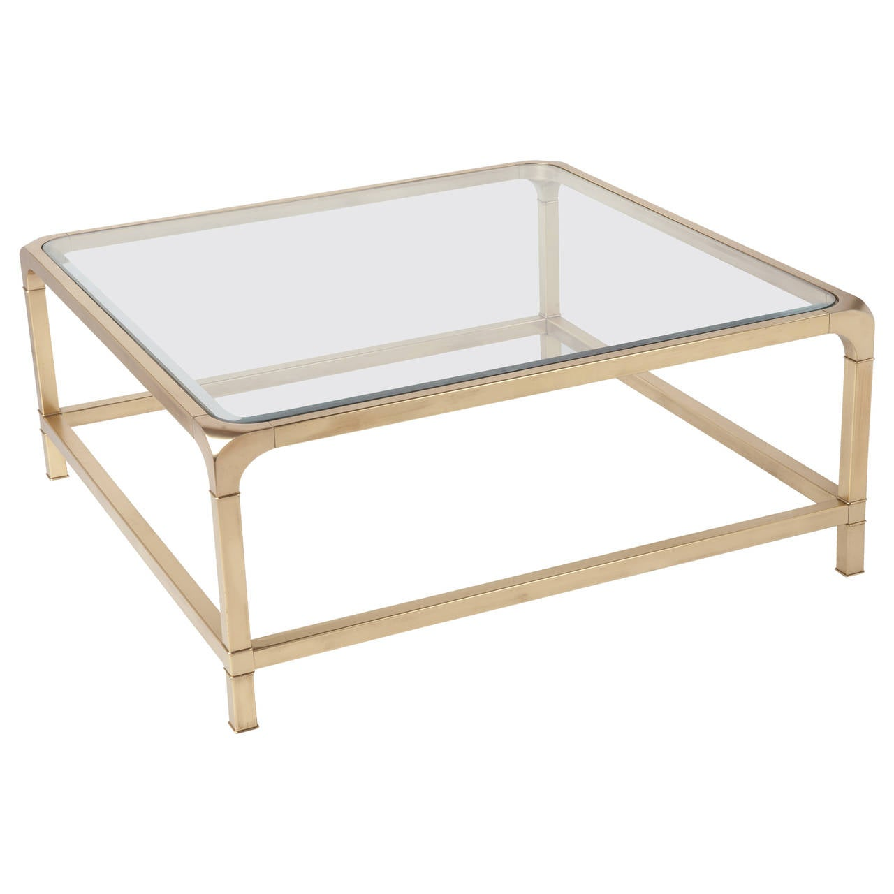 Mastercraft brass and glass square cocktail coffee table for Coffee table