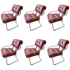 "Set of Six Luscious Faleschini ""Tucroma"" Dining Chairs by i4 Mariani for Pace"
