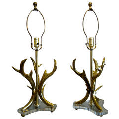 Pair of Very Dramatic Brass Antler Motif Lamps on Lucite Bases