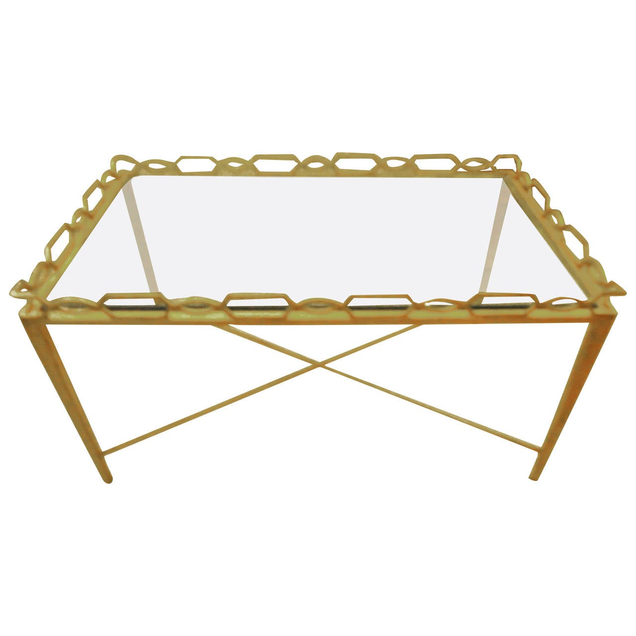 Lemon Gilt Iron Rectangular Small Coffee Cocktail Table At 1stdibs
