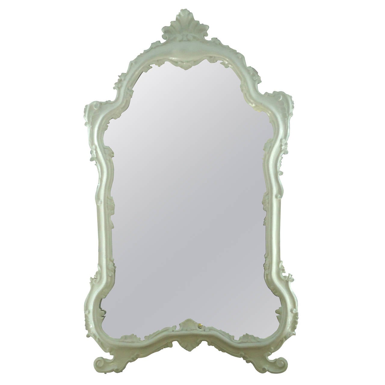White lacquered venetian style vintage mirror at 1stdibs for Old style mirror