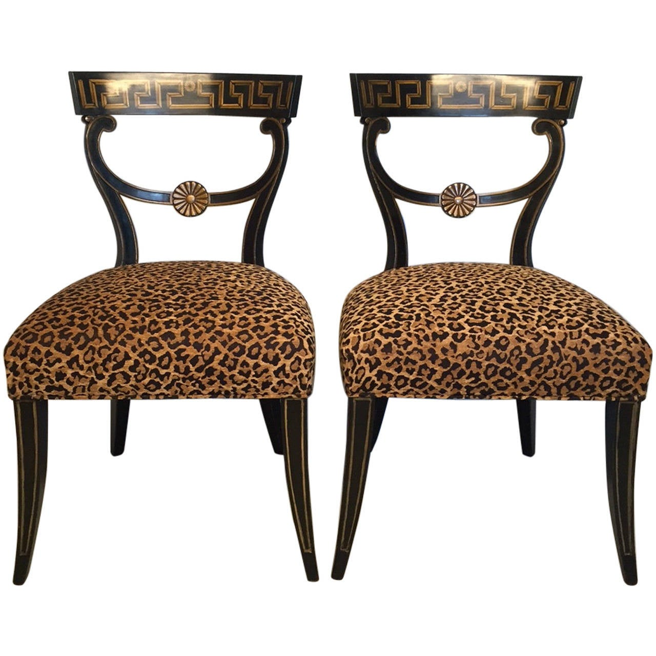 Pair of s dressy hollywood regency style side chairs