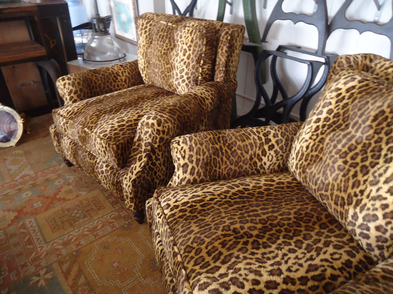 custom club chairs. American Pair Of Luscious Leopard Upholstered Custom Club Chairs For Sale