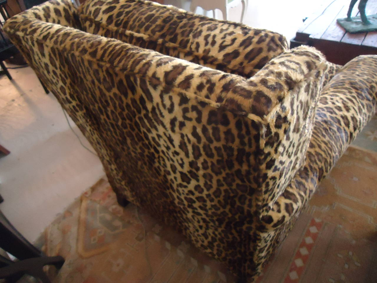 Custom Club Chairs pair of luscious leopard upholstered custom club chairs at 1stdibs