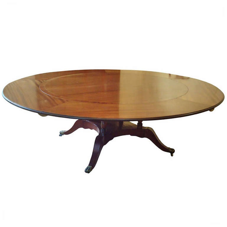 Expandable Enormous Stately Round Dining Table At 1stdibs
