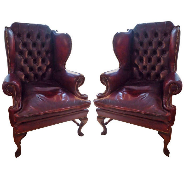 Smoke A Cigar In These Leather Wing Chairs At 1stdibs