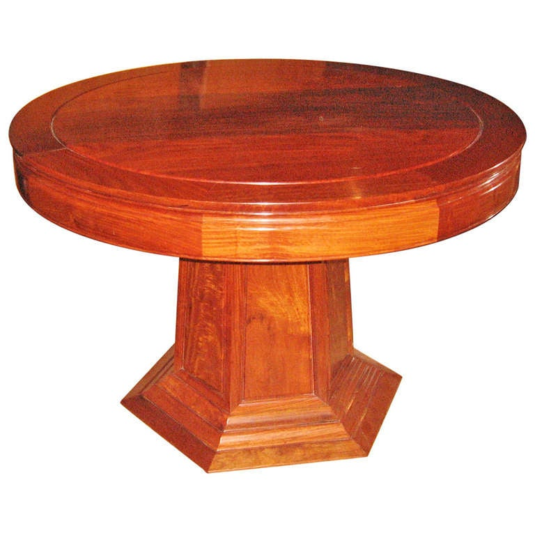 Exotic Hardwood Round Table At 1stdibs