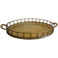 Handsome Mottahedeh Brass Faux Bamboo Gallery Tray