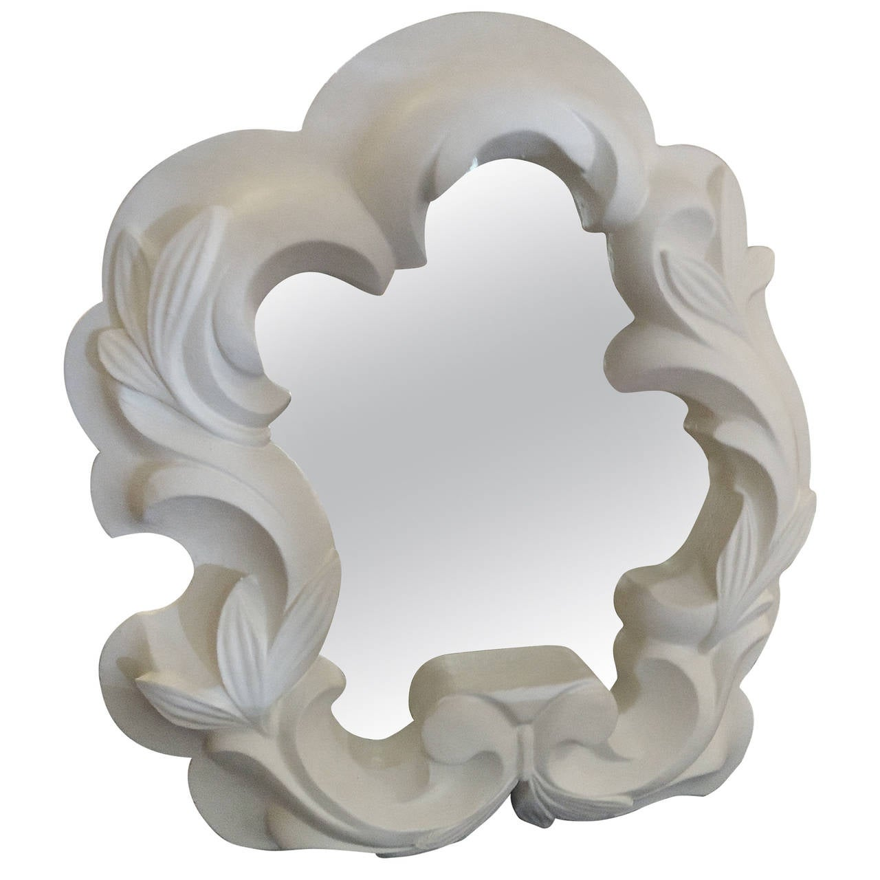 1940s Molded Plaster Asymmetrical Shaped Mirror