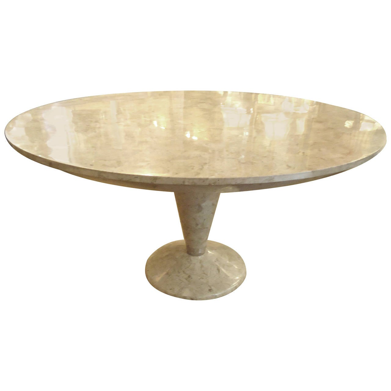 Elegant cream tessellated stone round dining table at 1stdibs for Round stone top dining table