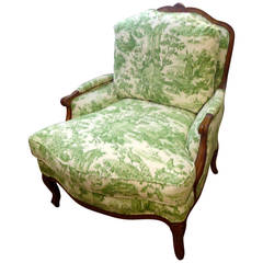Large Comfy French Bergere Lounge Chair Upholstered in Toile